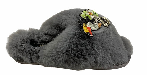 Laines Grey Slippers with Artisan Toucan Brooch