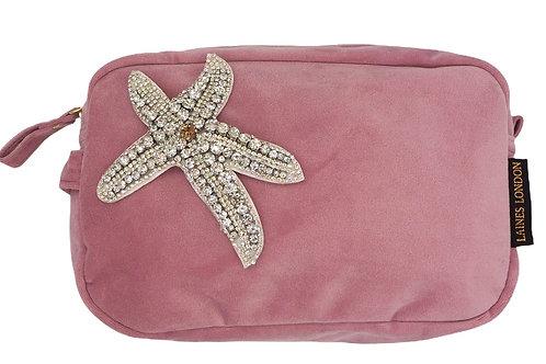 Blush Pink Velvet Bag With Silver Starfish Brooch