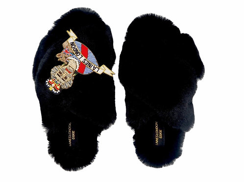 Laines Luxe Fluffy Black Slippers With Deluxe Queen Brooch