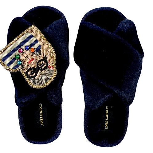 Navy Fluffy Slippers LUXE Fashion Icon Brooch