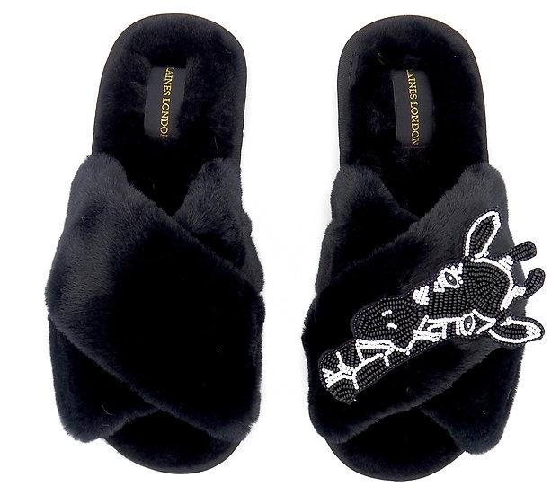 Black Fluffy Slippers with Monochrome Giraffe Brooch