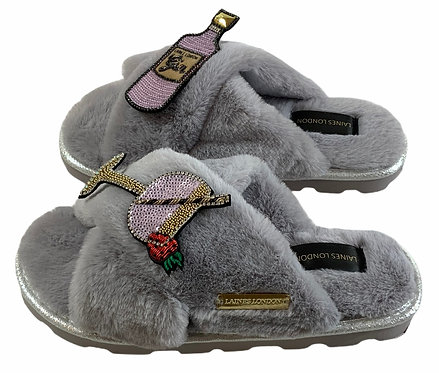 Ultralight Chic Slippers / Sliders With Premium Deluxe Gin & Juice Brooches