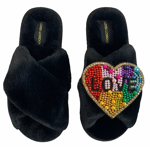 Classic Laines Slippers with Deluxe Rainbow LOVE Heart Brooch