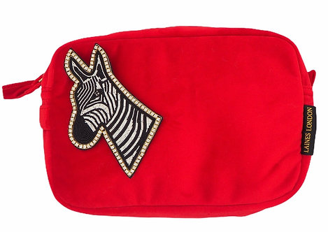Laines London Luxe Red Velvet Bag With Deluxe Zebra Brooch