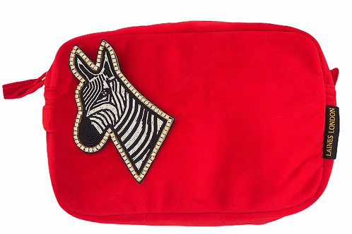 Laines London Luxe Red Velvet Bag With Deluxe Zebra Brooch