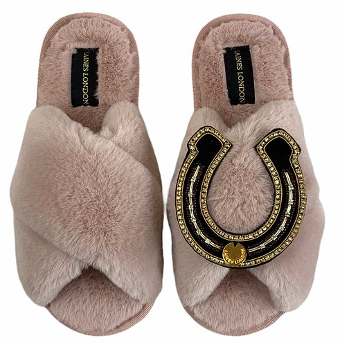 Classic Laines Slippers with Deluxe Horseshoe Brooch
