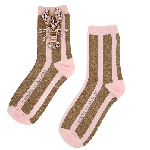Pink and Gold Shimmer Stripe Cotton Socks With Pink Lobster Brooch
