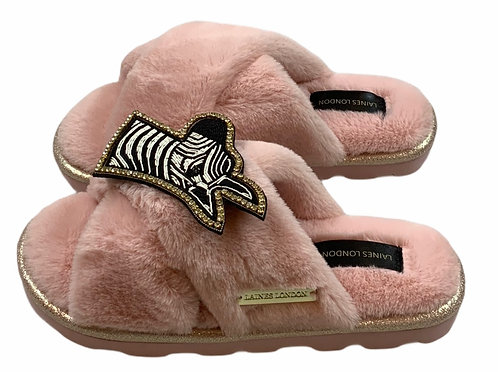 Ultralight Chic  Slippers / Sliders with Deluxe Zebra Brooch