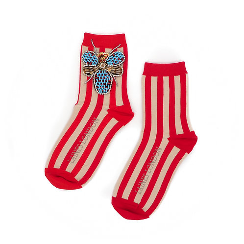 Red & Cream Stripe Cotton Socks With Beaded Bug