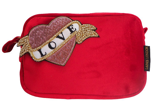 Laines London Luxe Red Velvet Bag With Deluxe Pink Heart Love Tat