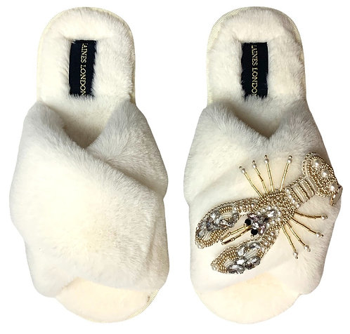 Cream Fluffy Slippers Pearl & Gold Lobster Brooch