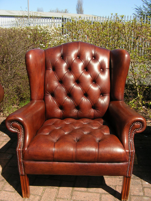 A Lovely Semi Aniline Leather 3 Piece Suite Comprising Of A Large 3 Seater  Fully Buttoned Chesterfield Sofa On Wooden Feet, One Club Chair And One  Fireside ...