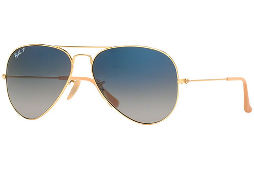 Ray-Ban Aviator Gradient Polarized Sunglasses (Gold)