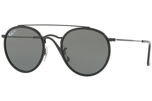 Ray-Ban Round Double Bridge Polarized Sunglasses (Black)