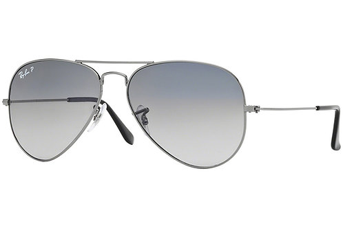 Ray-Ban Aviator Gradient Polarized Sunglasses (Gunmetal)