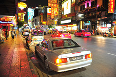 Driving around Chinatown in Bangkok Thailand