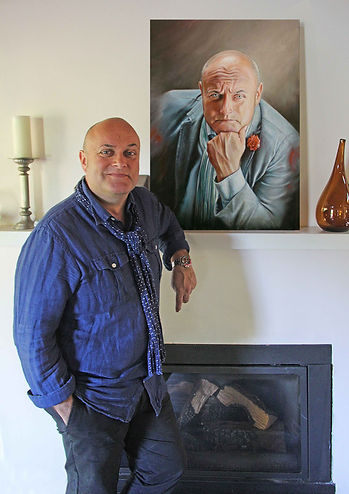 Nigel patrick Daly OBE Bafta president Portrait painting Commission by Artist Peter S. Faulkner