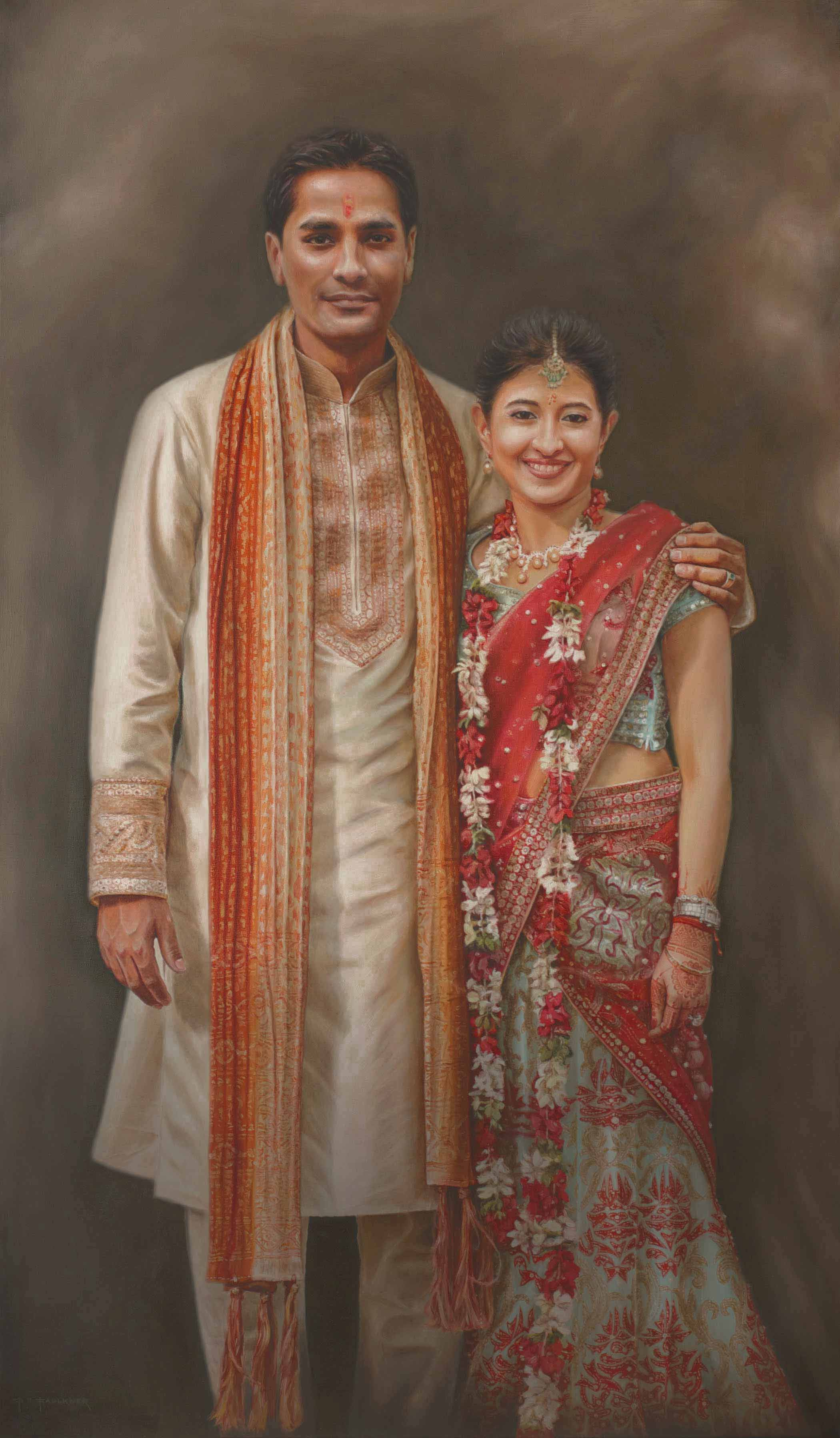 Portrait Indian wedding couple