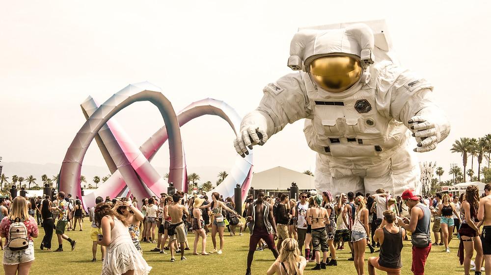 astronaut exhibit at Coachella Festival