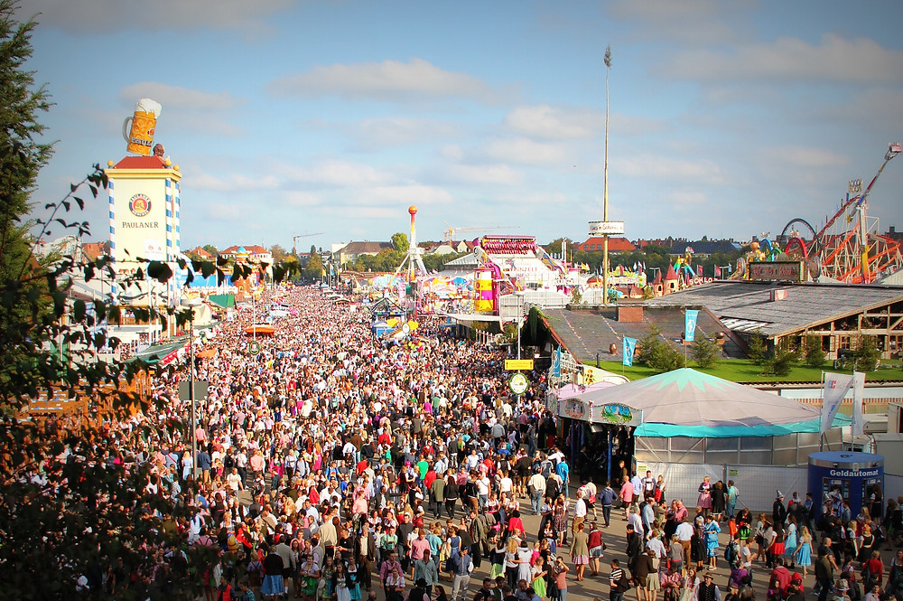 aerial view of large crowd at Oktoberfest