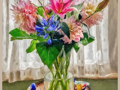 Flowers' arrangement by Henrietta with two ducks. 2020.