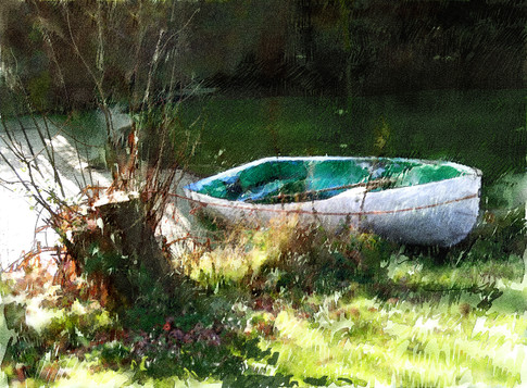 Rowing boat at The Barn