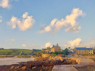 Scilly Cottages in late afternoon sun.