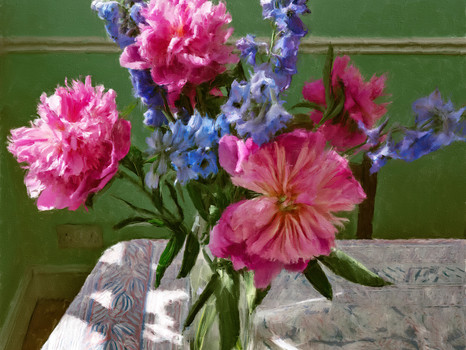 Flowers on the kitchen table.  2020.