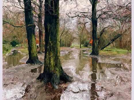 Puddles and trees on Wandsworth Common 2012.