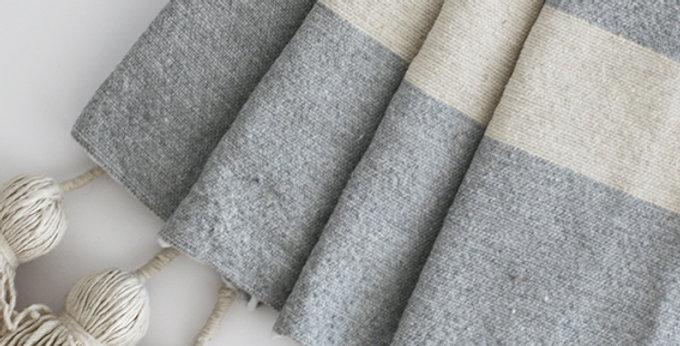 Pompon Decke - beige/grau - 200x300cm