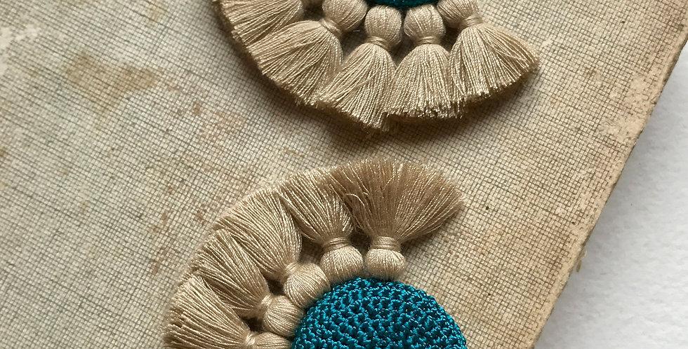 "HAMIMI ""TOUGANA"" Gehäkelte Ohrringe - Turquoise & Straw"