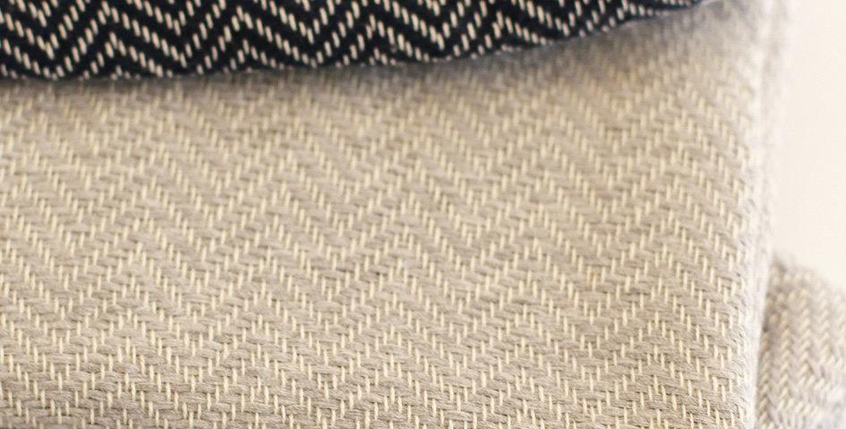 Fouta Hamamtuch - hellgrau/dunkelblau - 99x180 cm