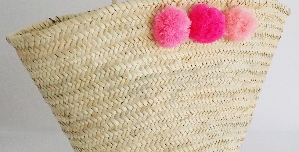 """Korbtasche """"Marrakesch"""" mit Pompons - pink"""