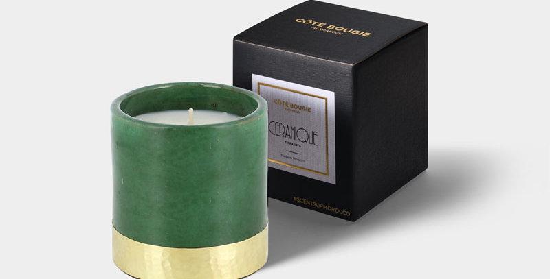 """CÔTÉ BOUGIE Duftkerze """"Green Gold"""" - Tannenwald - S"""