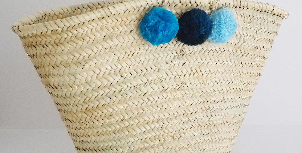 """Korbtasche """"Marrakech"""" mit Pompons - blau"""