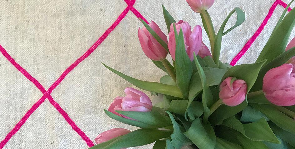 Kelim - creme-pink - ca. 220x135 cm