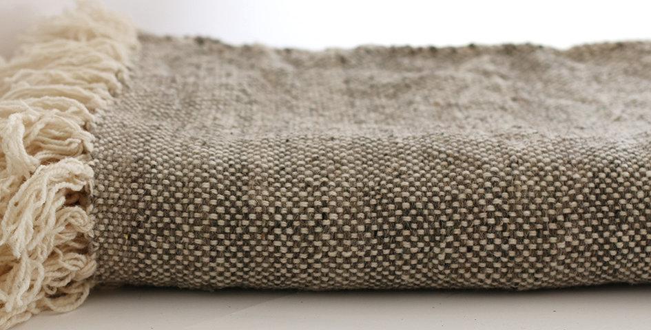 Decke - Wolle - Natur/braun - 200x212cm