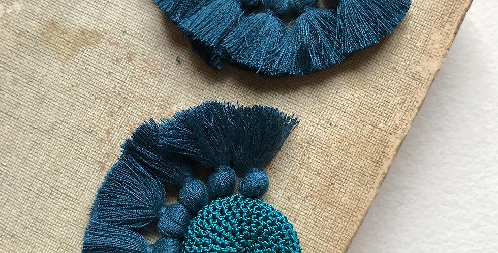 "HAMIMI ""TOUGANA"" Gehäkelte Ohrringe - Turquoise & Turquoise"