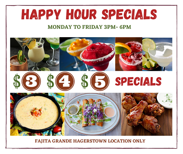 HAPPY HOUR SPECIALS MONDAY TO FRIDAY 3PM