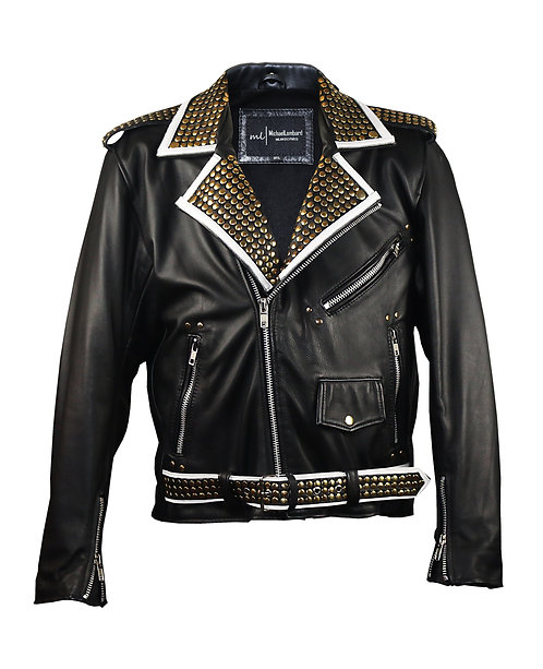 "THE ROCKER- Black Studded ""No Saints Without Sinners"" Calfskin Leather Jacket"