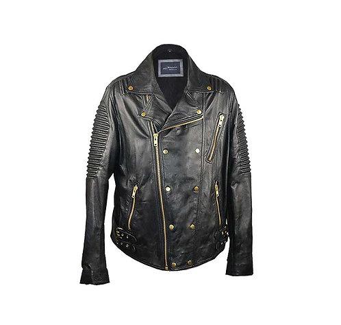 BLAZE-Black Ribbed Moto Sheepskin Leather with Gold Hardware