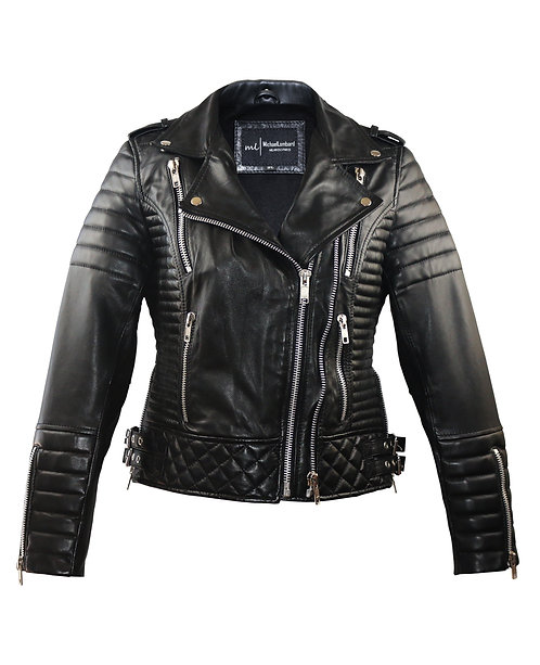 JET- Black Quilted Moto Lambskin Leather Jacket