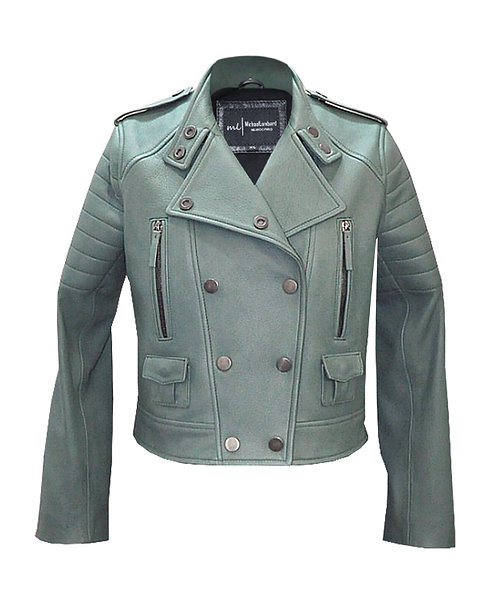 MINT - Mint Green Moto Double Breasted Calfskin Leather Jacket