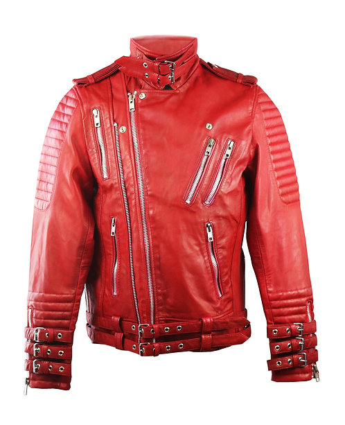 MJ- Red Quilted Moto Calfskin Leather Jacket with Buckles
