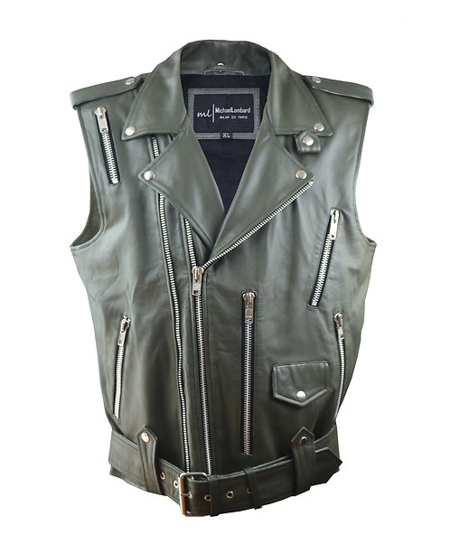 ROCK- Army Green Sheepskin Moto Leather Vest