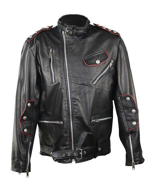 KING GEORGE III- Black Military Moto Calfskin Leather Jacket with Red Piping