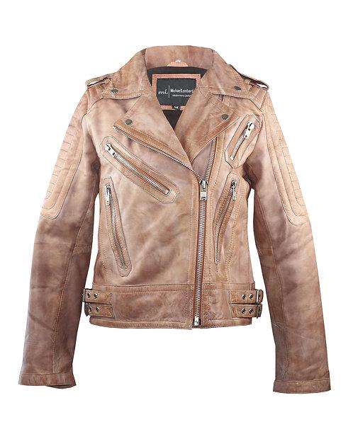 GABI- Waxed Brown Quilted Moto Sheepskin Leather Jacket