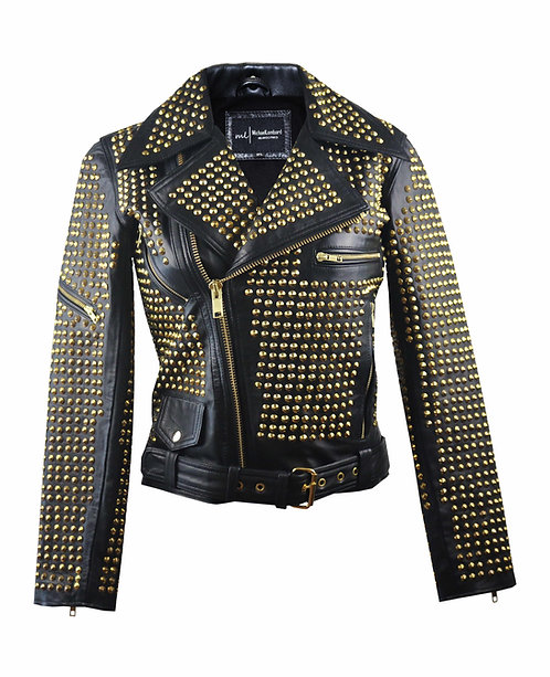 THE QUEEN- Full Metal Gold Studded Black Sheepskin Leather Moto Jacket