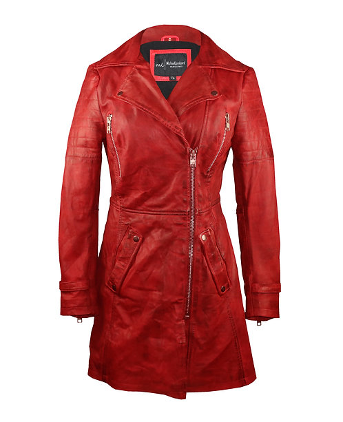 SIN-Red 3/4 Vintage Look Quilted Moto Sheepskin Leather Jacket