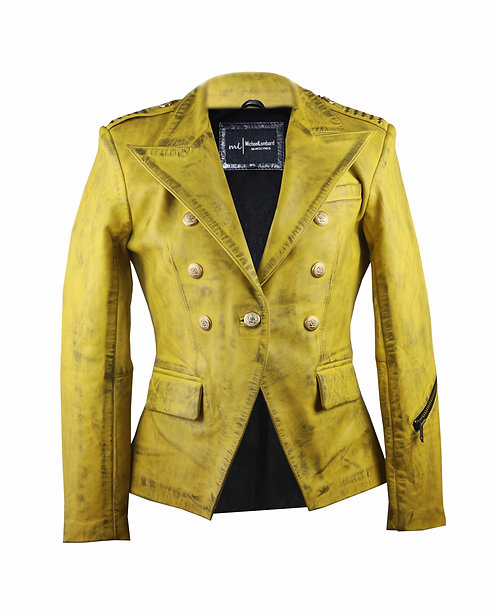 DIRTY BLONDE- Yellow Modern Double Breasted Sheepskin Leather Jacket